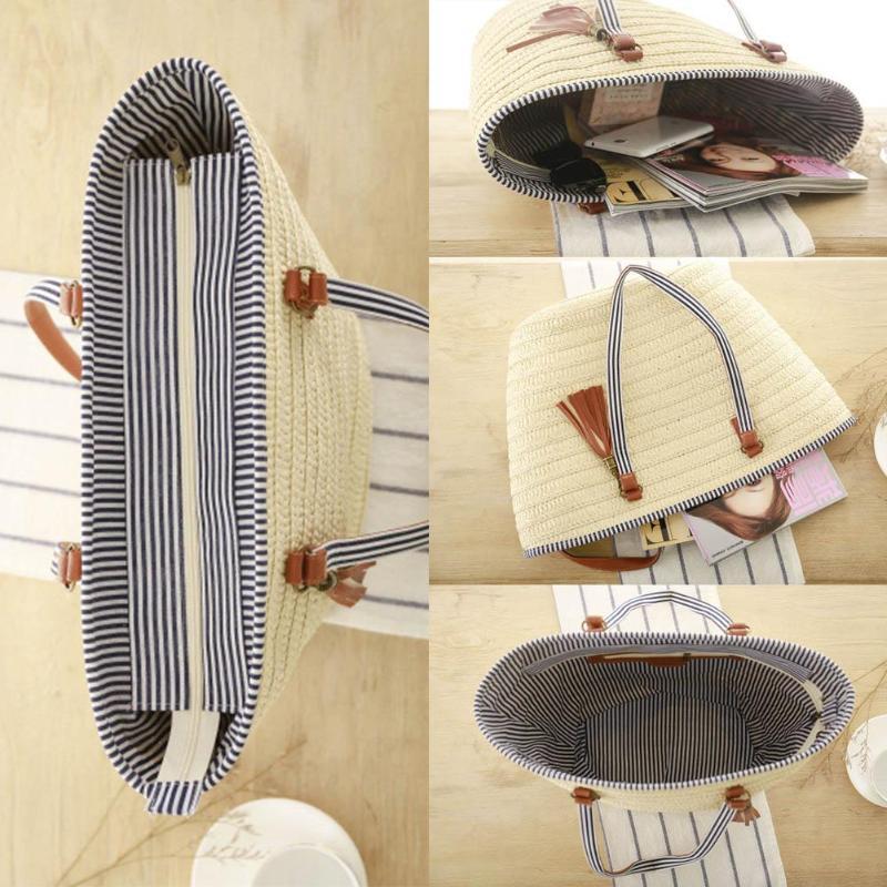 Women Simple Straw Handbag Shoulder Bag Tassels Tote Summer Beach Zipper Shopping Crossbody Fashion Travel Messenger Bag 3 Style