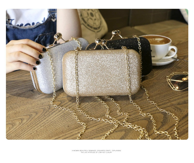 Large Size Women Handbag Evening Bags For Party New Women Chain Shoulder Bag Ladies Fashion Gold Clutch Box Bag Women Messenger