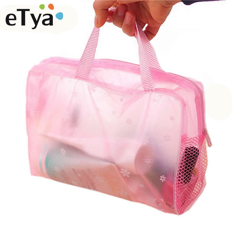eTya 5 Colors Make Up Organizer Bag Toiletry Bathing Storage Bag women waterproof Transparent Floral PVC Travel cosmetic bag