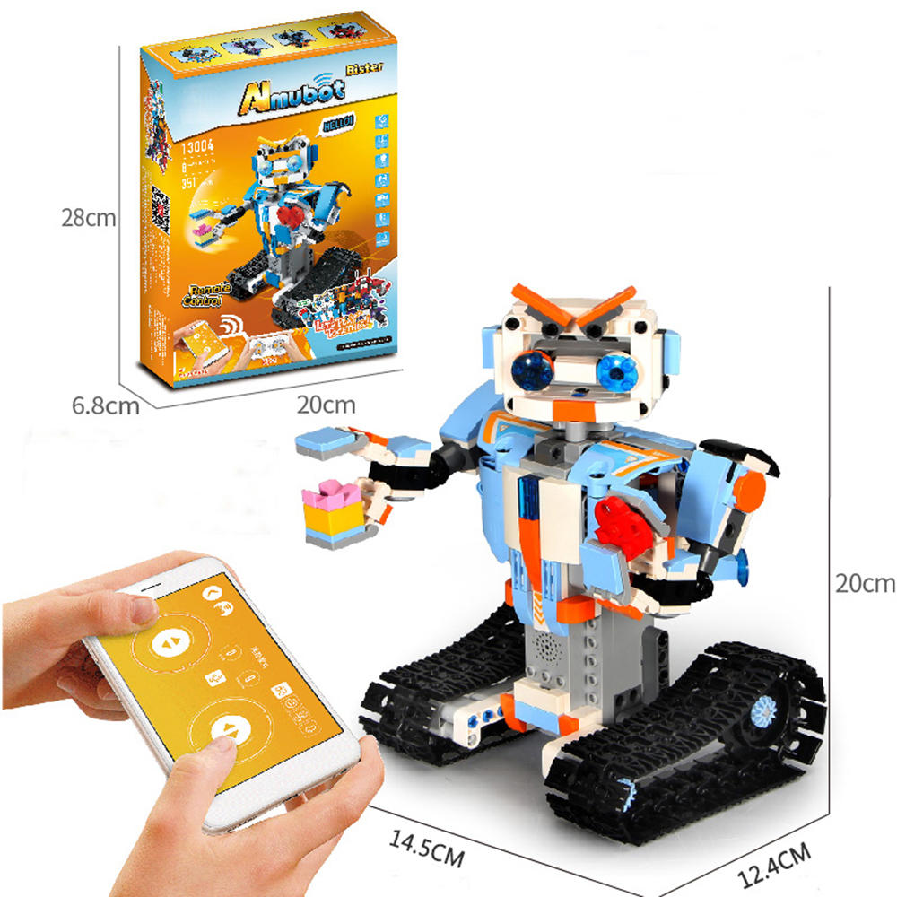 Mofun DIY 2.4G Block Building Programmable App/Stick Control Voice Interaction Smart RC Robot Toy Gift - BB13003