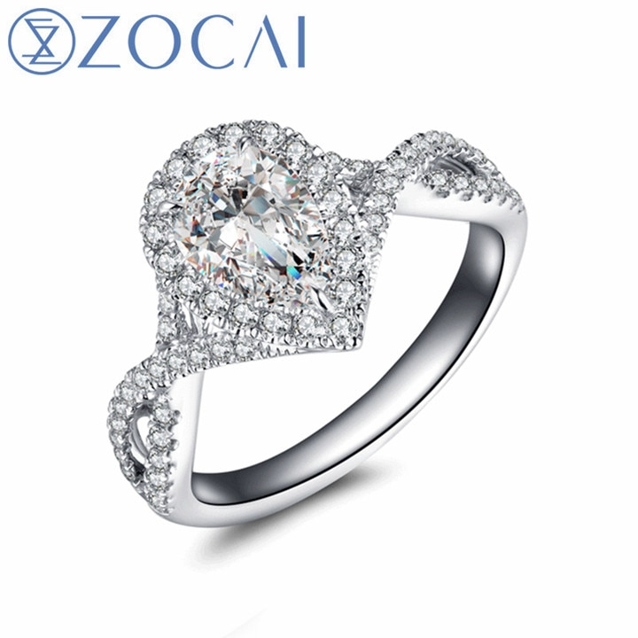 ZOCAI Brand design wedding and engagement ring real GIA certificated 1.0 CT with side stone 0.45 CT 18K gold(AU750)