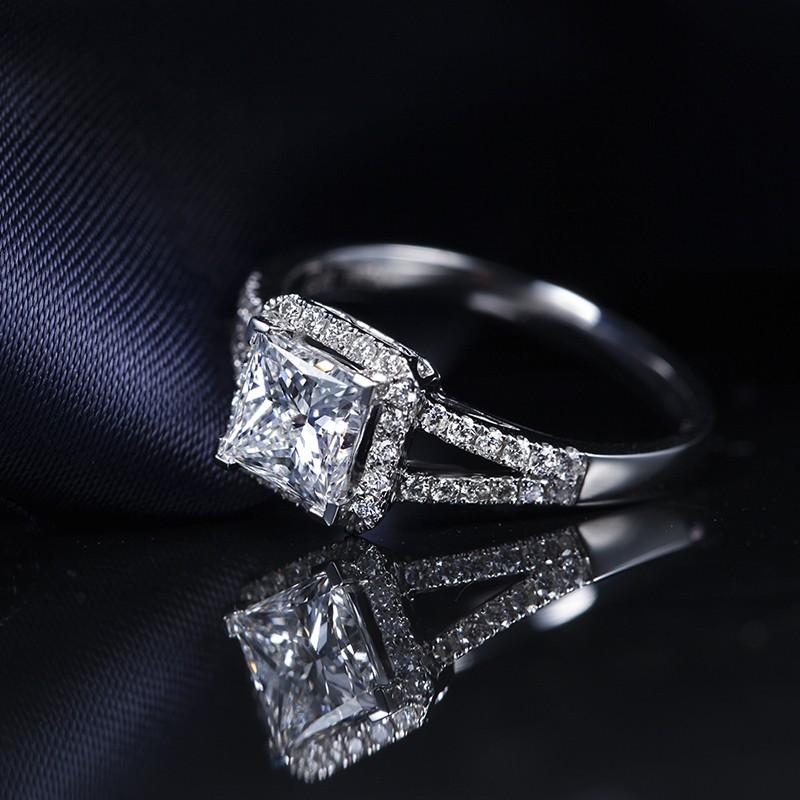 ZOCAI BRAND HALO SPLIT SHANK1.30 CT CERTIFIED F-G / VS DIAMOND ENGAGEMENT RING PRINCESS CUT 18K WHITE GOLD W03185
