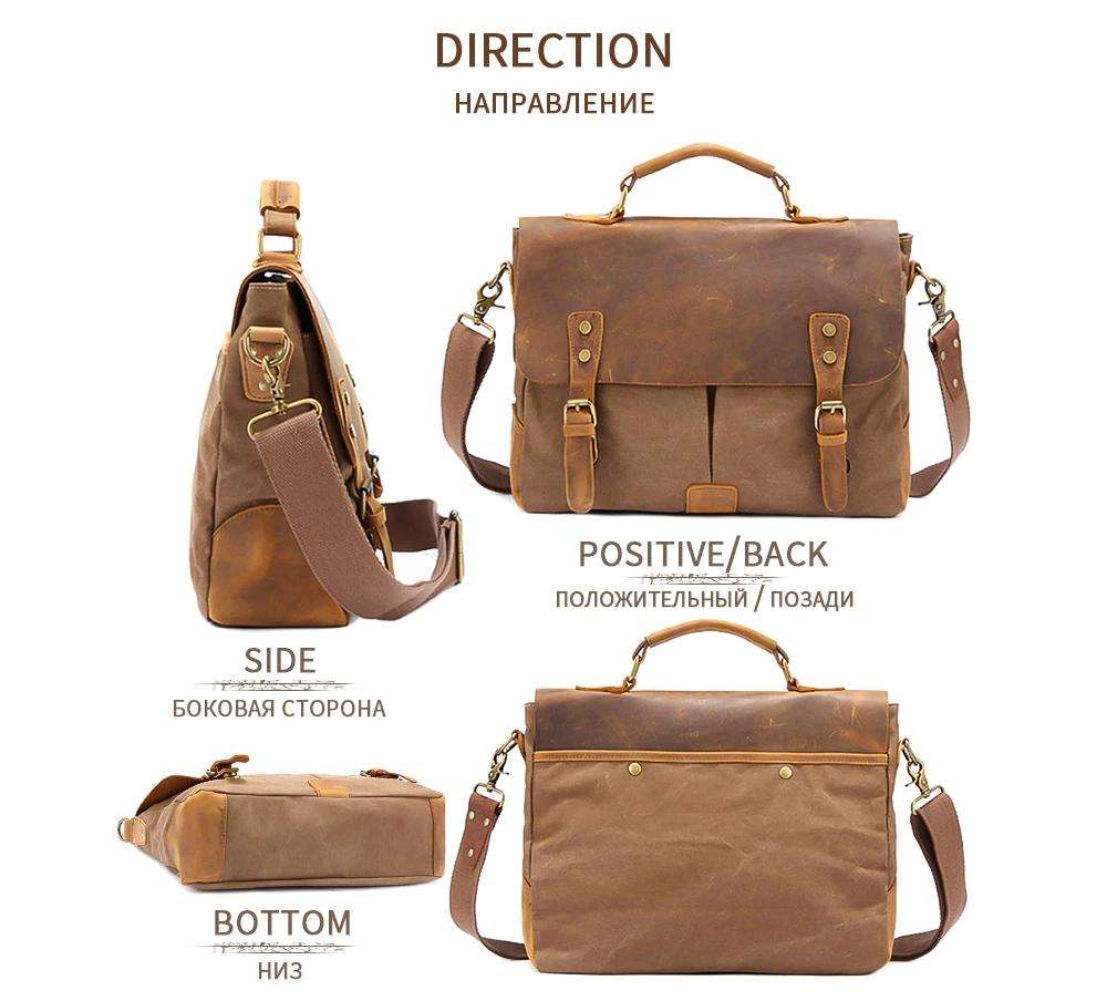 MARKROYAL Vintage Crazy Horse Leather Canvas Messenger Bags Laptop Briefcase Crossbody Satchel Bag for Men Travel Bag