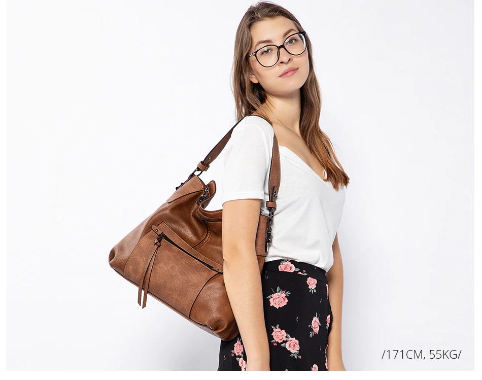 REALER shoulder bag Large Totes bag crossbody messenger bags 2019 luxury handbag PU leather gray