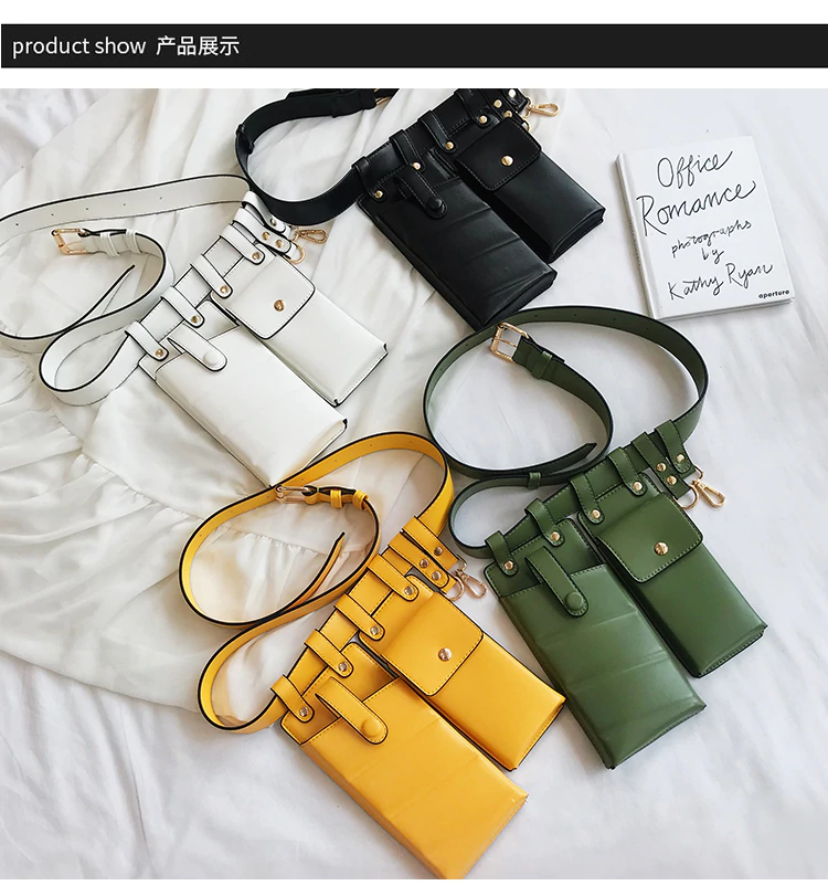 Fashion Leather Belt Crossbody Chest Bags Girl Fanny Pack Small Phone Pack shoulder strap Packs